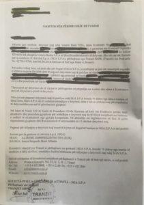 Una delle richiesta di pagamento da parte di Tranzit per crediti Sga arrivate dopo inizio inchiesta su Bankileaks